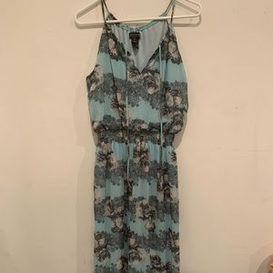 Blue Maxi Dress with flower print